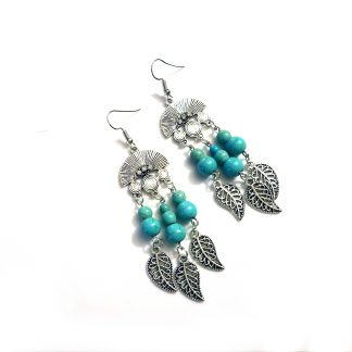 Lakota Leaves Turquoise and Silver Earrings