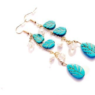 Turquoise Leaves Feather Dangle Earrings