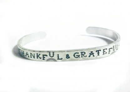 Thankful & Grateful Handstamped Bracelet