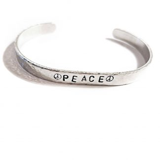 Peace Skinny Hand Stamped Stacking Cuff Bracelet