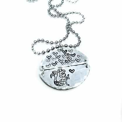 Mermaid Kisses Hand Stamped Necklace